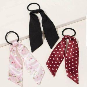 3 Pcs Hair Tie /Scrunchie Scarf Bundle